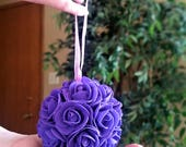 SALE - Single purple foam flower kissing ball - wedding pew rose flower ball - wedding rose decor/table centerpiece - purple kissing ball