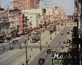 Canal Street, New Orleans, Vintage Postcard, 1951, Trolley, Classic Cars