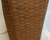 """Longaberger Signed MTG Large 22"""" Tall Laundry Hamper, 1983, Stamped with Company Name, Hinged Top"""