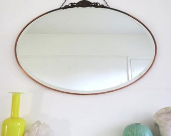 Vintage Art Deco Oval Mirror with Large Copper Frame