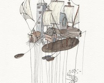 LIMITED EDITION POSTER, afdrukken van de originele tekening met boten en zeilen. Nautische Huisdecoratie voor wie houdt van schepen en zeilen.