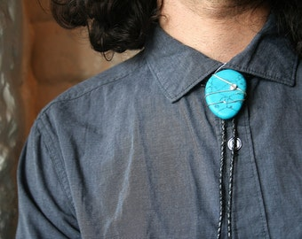 Turquoise Bolo Tie with either Genuine or Faux Leather Cord