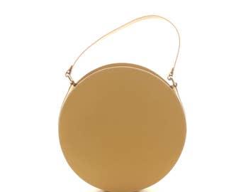 Mustard leather shoulder bag, circle bag, round handbag, round shoulder bag, round leather bag, leather purse, round bag FREE SHIPPING