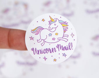 Unicorn Stickers - Unicorn Mail Stickers - Unicorn Mail Labels - Unicorn Labels - Packaging Stickers - 1.5 inch
