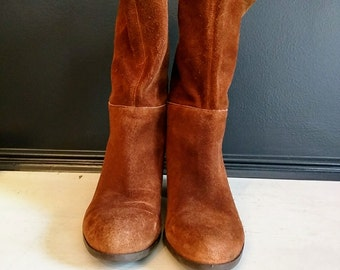 Vintage Inspired Boots Nine West Collection Cognac- Brown Suede Pull On Low Heel Mid Calf Boot Booties