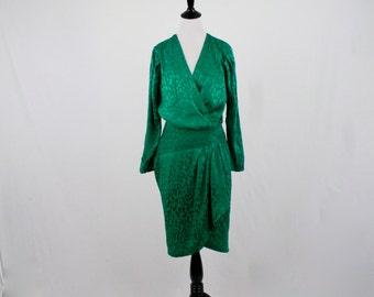 1980s Emerald Green Silk Dress Joann Wordy El Paso