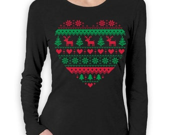 Heart Shaped Ugly Christmas Sweater Women's Long Sleeve T-Shirt
