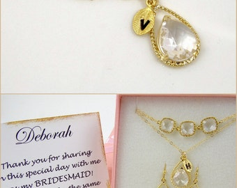 Clear Crystal Necklace Gold Necklace Bridesmaid Gift Necklace Maid of Honor Gift for Bridesmaid Jewelry Wedding Jewelry Bridal Shower Gift