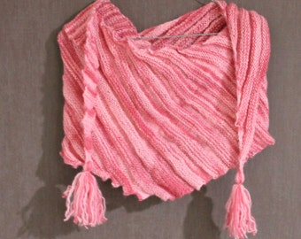 Knitted soft asymmetrical scarf. Shades of pink, rib pattern with tassels, tuft. Hand-knit, handmade.