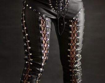 Laceup denim&leather pants