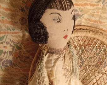 1920s Asian Art Deco Boudoir Doll AO Rare