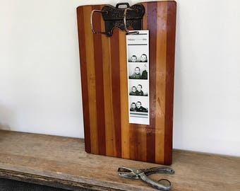Antique Wood and Copper Clipboard -  Optimo Arch File - Vintage Display - fathers Day Photos -  Photo display