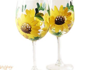 Sunflower Wine Glasses | Set of 2 | Hand Painted | Your Choice Stemmed or Stemless Wine Glasses |  Sunflower Weddings