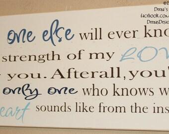 Nursery Sign, Nursery Decor, Nursery Wall Art, Custom Wooden Sign, Children Wall Art - No One Else Will Ever Know The Strength Of My Love