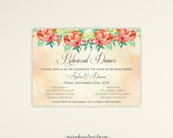 Rehearsal Dinner Invitation, Wedding Rehearsal Dinner Invite, Rehearsal Invitation, The Night Before Invite Printable or Printed, No. R21002