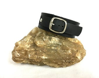 """Handcrafted Black Leather Bracelet For Men. Thick Leather. Silver Tone Buckle. 3 cm Wide/ 1.2"""" Inch Wide. One Of A Kind. A Gift For Him."""