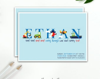 Transportation Birthday Invitation, Transportation Party, 1st  2nd 3rd Birthday, Boy, Transportation Invitation, Printable or Printed
