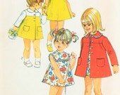 60s ADORABLE Toddler Little Girls Babies Dress and Coat Pattern Simplicity 8668 Two Sweet Styles Size 4 Vintage Sewing Pattern