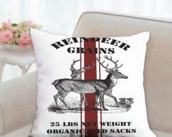 Country Christmas Reindeer Grains Pillow