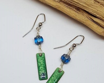 Green and Blue Bohochic Earrings - Green Earrings - Blue Earrings - Bohochic Earrings