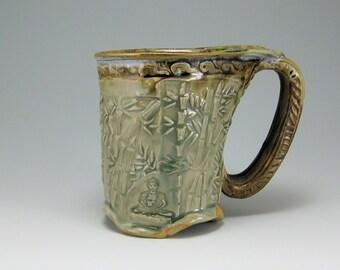 Dragonfly Buddha Mug, 12oz Carved, Hand-built Stoneware Mug  (#37)