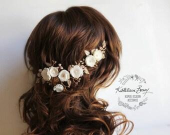 Bridal flower hairpiece, leaf wreath, Ivory champagne blush pink rose gold wedding hair accessories vine handmade STYLE: Stacey