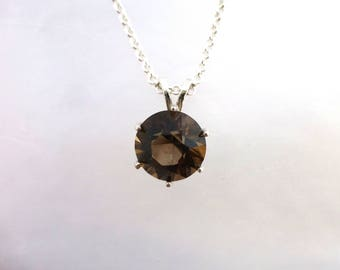 Faceted Colorado Smoky Quartz and Sterling Silver Necklace