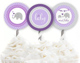 """Elephant Shower Decor, Elephant Baby Shower, 2"""" Party Circle, Girl Baby Shower, Purple Elephant, Cupcake Toppers, INSTANT DOWNLOAD, #E2"""