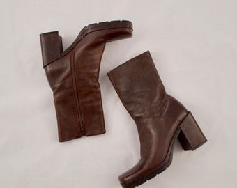 ENZO ANGIOLINI leather booots / chunky boots / 8 - 38.5 / square toe boots / 90s ankle boot / platform ankle boot / mid height boot / grunge