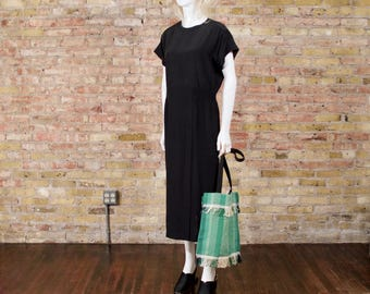 ellen tracy silk dress / oversized dress / minimalist / sporty dress / sack dress / easy fit / black silk / slouchy dress / oversized silk