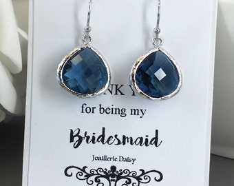 Navy Earrings, Dangle Earrings, Drop Earrings, Navy Jewelry, Gift under 20, Bridesmaids, Maid of Honor, Mother of Groom, Mother of Bride