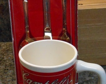 Vintage Campbells Soup Mug And Campbells Silverware Set Boy