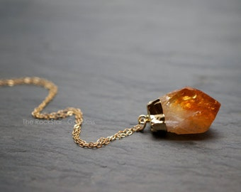 Citrine Necklace ⊿ Raw Citrine ⊿ Citrine Crystal ⊿ Gold Citrine ⊿ Citrine Pendant ⊿ November Birthstone