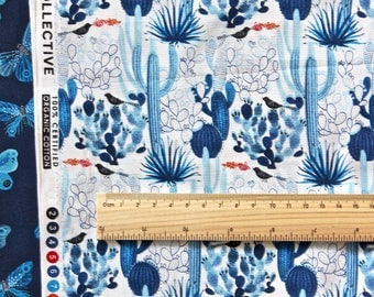 "MOODY BLUES by Geninne - Cactus. Cacti. Cloud 9 Fabric. Organic cotton. Half metre (19.5"")"