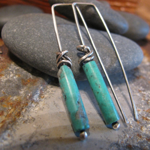 Turquoise Sterling Silver Earrings Handmade/Hand Forged  Dangle Earrings-Stone of Opportunity