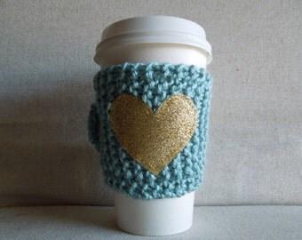 Seafoam Coffee Cozy with Gold Glitter Heart, Mug Sweater, Coffee Cozy, Coffee Sleeve, Mug Cozy