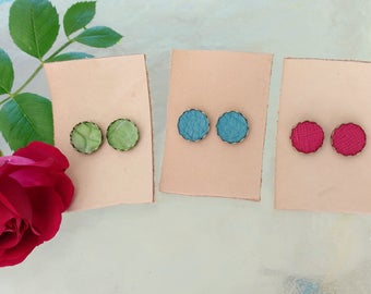 Colorful Leather and Brass Earrings // Bronze Stud Earrings
