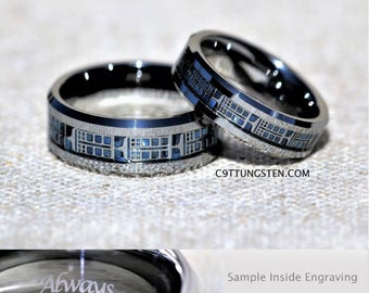 Superb 6MM And 8MM Doctor Who Inspired Tardis Tungsten Wedding Set, Free Inside  Engraving Idea