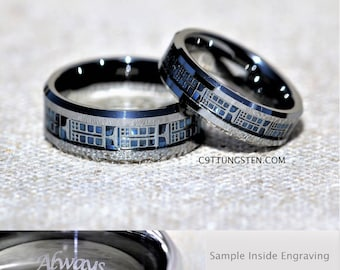 6mm and 8mm doctor who inspired tardis tungsten wedding set free inside engraving - Dr Who Wedding Ring