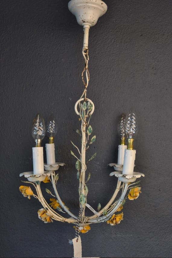Beautiful toleware chandelier with yellow flowers