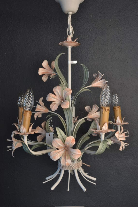 Large tole flower chandelier with pink lilys
