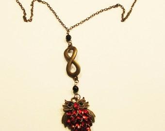 Owl, Necklace, pendant, red stones, figure 8 loop, black eyes, bronze, brass, dark gold, B, jewelry
