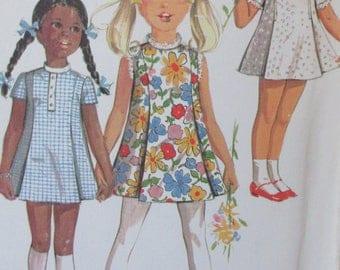 Vintage 1970  McCalls 2290  Little Girl's Dress Princess Seams  in Three Versions  Size 2 UNCUT