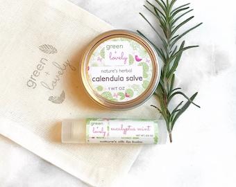 Salve + Lip Butter Set /// Calendula Skin Salve, Organic Lip Balm, Cuticle Cream, Hand Cream, Organic Cosmetics. Spa Gift Set under 15