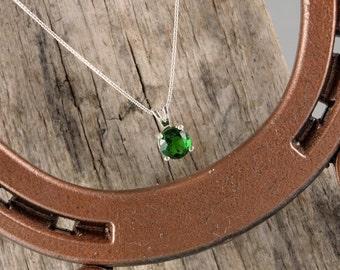 Sterling Silver Pendant /Necklace - Green Topaz Pendant/Necklace - Sterling Silver Setting with a 7mm Green Topaz