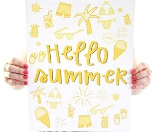 Hello Summer Art Print - Summer Things Art - Seasonal Poster - Sunshine - Flip Flops - Ice Cream - Summertime Print