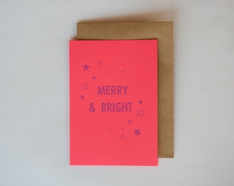 Merry & Bright // Fluoro red // Letterpress Christmas card