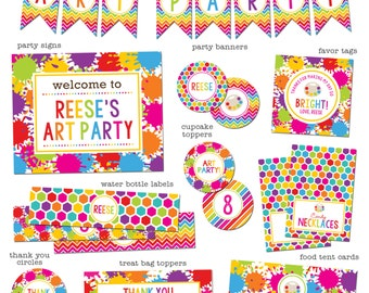 Art Party Printable Package - Paint Party Printables - Art Party Birthday Printable Pack
