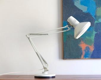 Huge Industrial Adjustable Desk Lamp / Task Light / Workshop Lamp / Loft / Factory Office, 1950s vintage design mid century modern grey