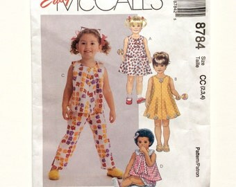 McCall's 8784, Toddler Girls' Dress, Top, Pants and Shorts Pattern, Size 2, 3, 4, Easy Mccall's, Uncut Pattern